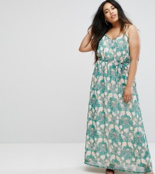 Uttam Boutique Plus Flower Print Maxi Dress - Green