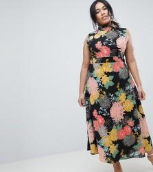 Uttam Boutique Plus Flower Print Neck Dress - Multi