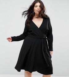 Uttam Boutique Plus Long Sleeve Belted Wrap Dress - Black
