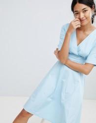 Uttam Boutique V Neck Skater Dress - Blue
