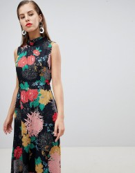 Uttam Boutqiue High Neck Floral Belted Maxi Dress - Multi