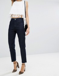 Vale High Rise Fray Hem Cropped Jean - Blue