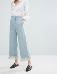 Vale High Rise Fray Hem Culotte - Blue