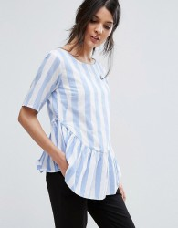 Vale Peplum Detail Woven Stripe Top - Multi