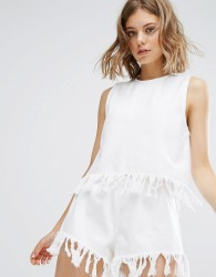 Vale Relaxed Fit Tank With Fray Edge - White