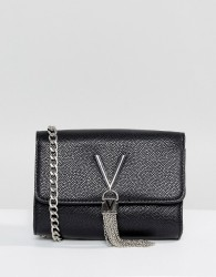 Valentino by Mario Valentino Foldover Tassel Detail Cross Body Bag - Black
