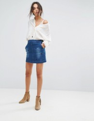 Vanessa Bruno Athe Hariette Embroidered Denim Skirt - Blue