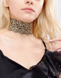 Vanessa Mooney Lace Choker With Gold Plating - Gold