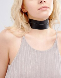 Vanessa Mooney Leather Look Chunky Choker With Gold Plated Chain - Black