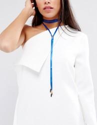 Vanesse Mooney Satin Chain Bolo Choker - Blue