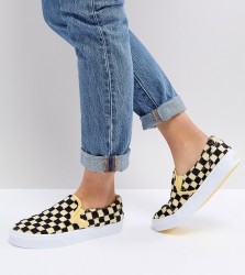 Vans Fluffy Yellow Checkerboard Slip On Trainers - Yellow