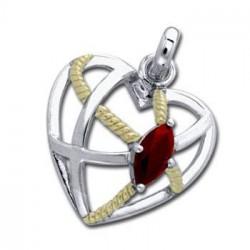 Vedhæng Hjerte med Rød Granat - 27mm - u/kæde
