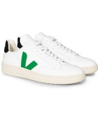 Veja V-12 Leather Sneaker Extra White/Emeraude Black men 40 Hvid