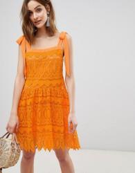 Vero Moda All Over Lace Cami Dress With Tie Straps - Orange