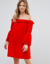 Vero Moda Bardot Dress with Fluted Sleeve - Red