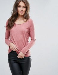 Vero Moda Burn Out Long Sleeve Top - Pink
