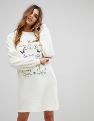 Vero Moda Embroidered Sweater Dress - White