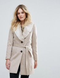 Vero Moda Faux Fur Trimmed Belted Jacket - Cream