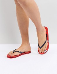 Vero Moda Floral Flip Flop - Red