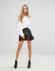 Vero Moda Floral Ruffle Mini Skirt - Black