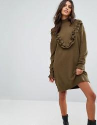 Vero Moda Jumper Dress With Ruffle Detail - Green