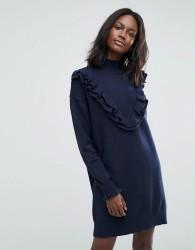 Vero Moda Jumper Dress With Ruffle Detail - Navy