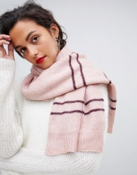 Vero Moda Knitted Striped Scarf - Pink
