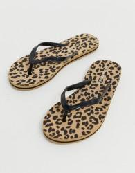 Vero Moda leopard print flip flops - Brown
