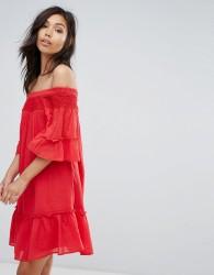 Vero Moda Off Shoulder Tiered Dress - Red