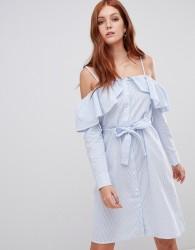 Vero Moda off the shoulder shirt dress - Blue