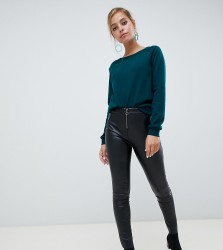 Vero Moda Petite Leather Look Trousers - Black