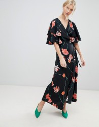 Vero Moda Printed Flutter Sleeve Wrap Maxi Dress - Multi