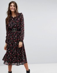 Vero Moda Rose Printed Midi Dress - Multi