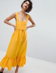 Vero Moda Ruffle Hem Cami Dress With Bow Back - Yellow