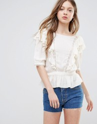Vero Moda Ruffle Top With Peplum Hem - Cream