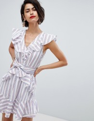 Vero Moda Stripe Ruffle Tie Waist Dress - Pink