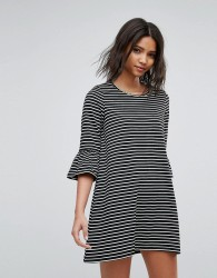 Vero Moda Stripe Shift Dress With Fluted Sleeve - Black