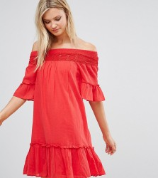 Vero Moda Tall Off the Shoulder Dress - Red