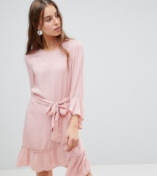 Vero Moda Tall Ruffle Dress With Wrap Hem - Pink