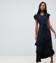 Vero Moda tall ruffle sleeve asymmetric maxi dress - Black