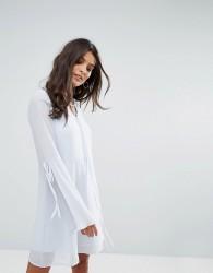 Vero Moda Tea Dress with Plisse Fluted Sleeve - Blue