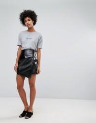 Vero Moda Vinyl Wrap Skirt - Black