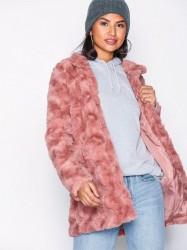 Vero Moda Vmcurl High Neck Faux Fur Jacket Co Faux Fur Rosa/Lyserød