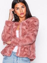 Vero Moda Vmcurl Short Faux Fur Jacket Col Faux Fur Rosa/Lyserød