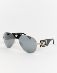Versace 0VE2150Q aviator sunglasses with detachable brow - Black