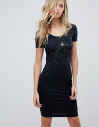 Versace Jeans Bodycon Dress with Holographic Logo - Black