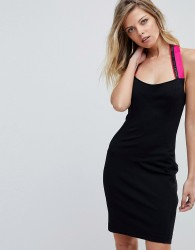 Versace Jeans Bodycon Dress with Logo Tape Halter neck - Black