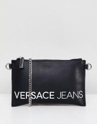 Versace Jeans contrast logo clutch bag - Black