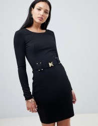 Versace Jeans dress with buckle waist detail - Black