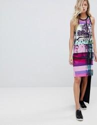 Versace Jeans Hi-Lo Tank Dress with Palm Print Logo - Black